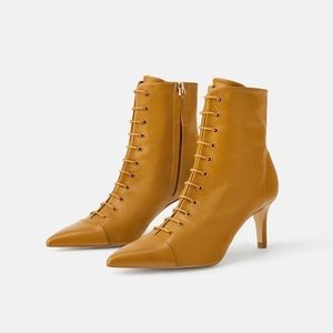 NEW zara real leather lace up boots booties
